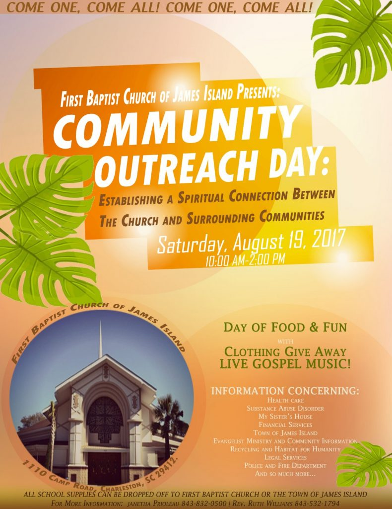 Community Outreach Day First Baptist Church Of James Island