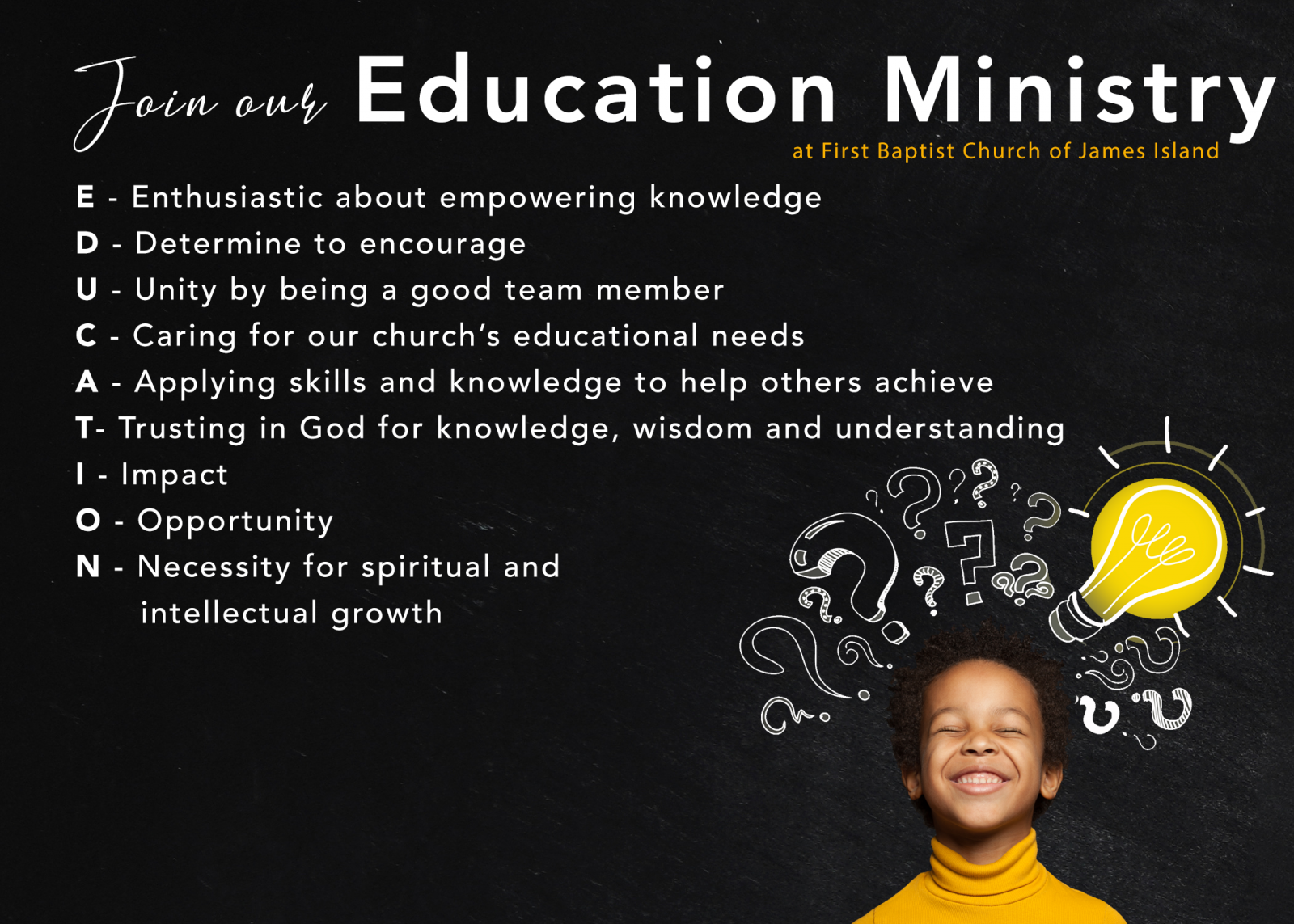 Join our Education Ministry
